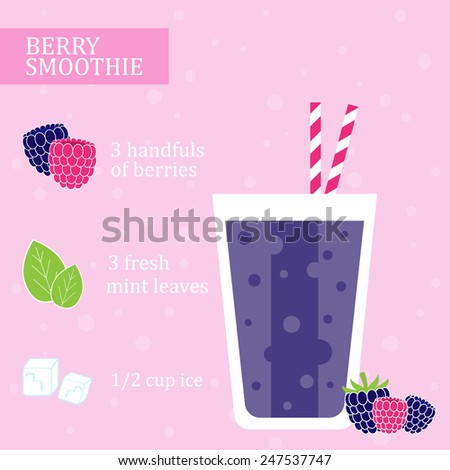 Blackberry smoothie recipe. Menu element for cafe or restaurant with energetic fresh drink made in flat style. Fresh juice for healthy life. Organic raw shake. Vector illustration. - stock vector