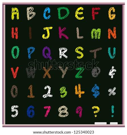 Blackboard and chalk alphabet - stock vector