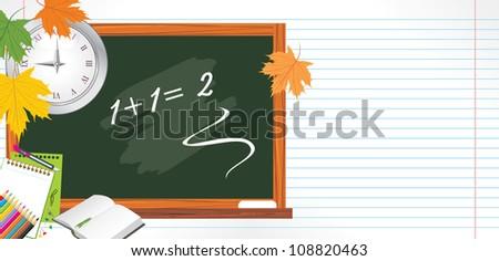 Blackboard and school accessories. Back to school. Vector - stock vector