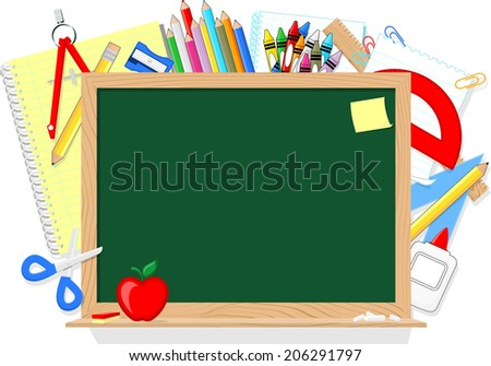 blackboard and school education supplies items isolated on white background - stock vector