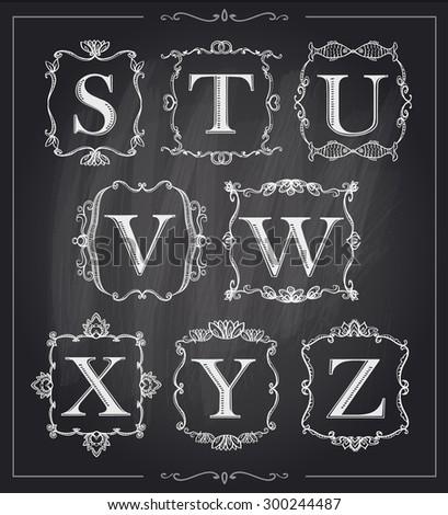 Blackboard chalk vintage calligraphic letters in monogram retro frames, alphabet logos set - S, T, U, V, W, X, Y, Z - stock vector