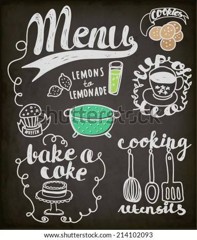 Blackboard Doodles Themed Around Food and Drink - Hand drawn vignettes related to food and drink, including teacup, cookies, cake, muffin and lemonade, in a sketchy simple style - stock vector