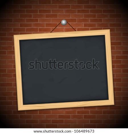 Blackboard on brick wall, vector eps10 illustration - stock vector