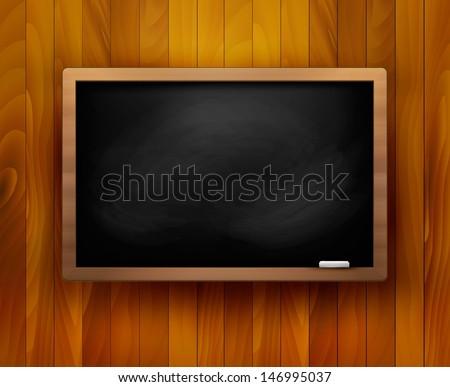 Blackboard on wooden background. Vector illustration.  - stock vector