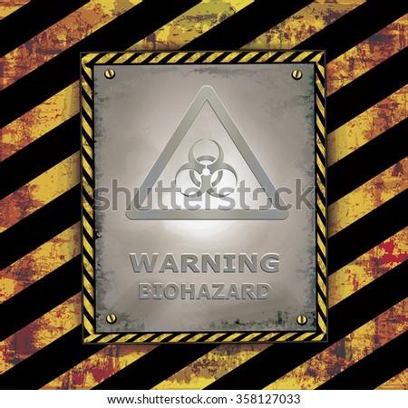 blackboard sign caution banner warning biohazard vector - stock vector