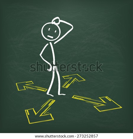 Blackboard with stickman and arrows. Eps 10 vector file. - stock vector