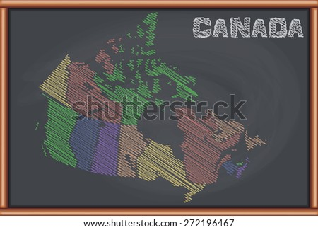 Blackboard with the Map of Canada - stock vector