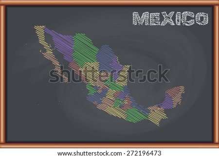 Blackboard with the Map of Mexico - stock vector
