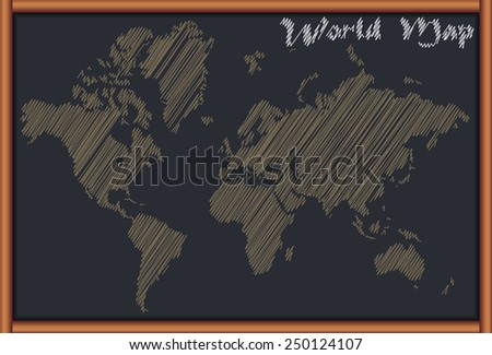 Blackboard with the World Map - stock vector