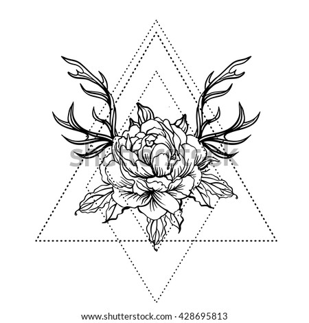 Blackwork tattoo flash. Peony flower with deer antlers. Vector illustration isolated on white. Tattoo design, mystic symbol. New school dotwork. Boho design. Print, posters, t-shirts and textiles. - stock vector