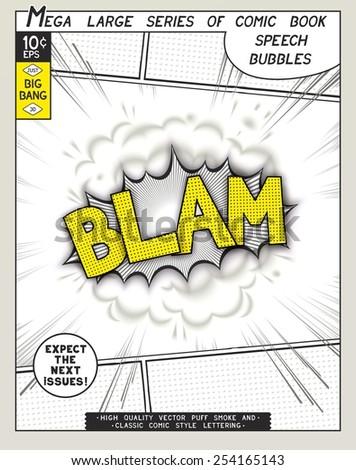 Blam. Explosion in comic style with lettering and realistic puffs smoke. 3D vector pop art speech bubble - stock vector