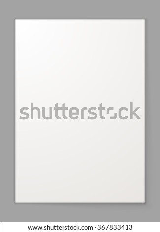 Blank A4 sheet of paper isolated on grey background vector template. - stock vector