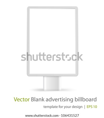 Blank advertising billboard on white background. Front view. Eps10 - stock vector