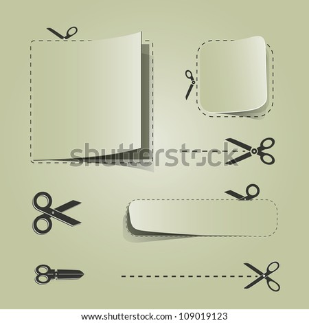 Blank advertising coupons with scissors - stock vector