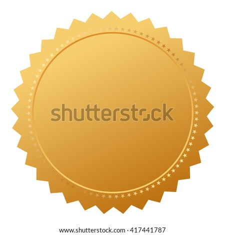 Blank agreement gold seal vector illustration isolated on white background - stock vector