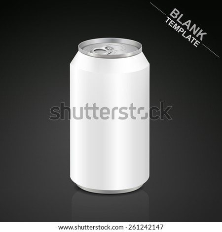 blank aluminum drink can isolated on black background - stock vector