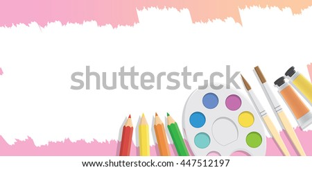 Blank banner Equipment for painting for advertising and presentation about art subject study illustration vector. - stock vector