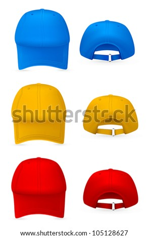 Blank baseball hat template. Front and rear views. - stock vector