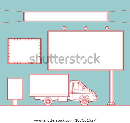 Blank billboards - stock vector