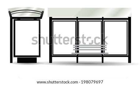 Blank Billboards on Bus Stop for your advertising, vector illustration - stock vector