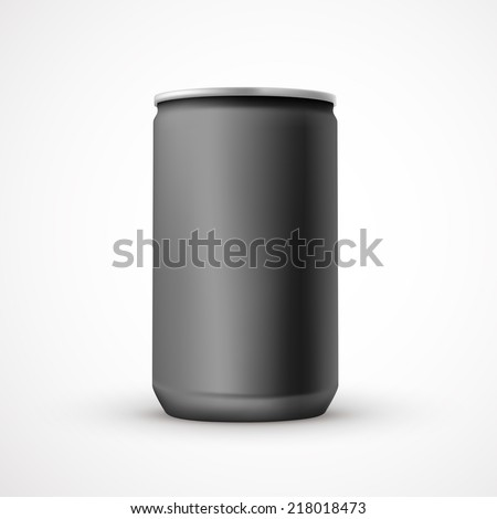blank black aluminum can template isolated over white background - stock vector