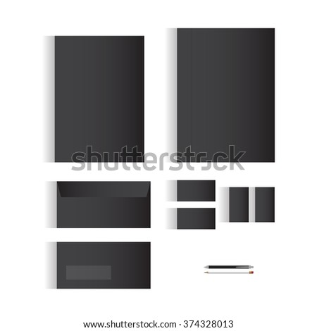 Blank Black Stationery Template Design for Your Business | Modern Vector Design - stock vector
