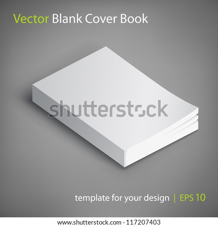 Blank book cover vector illustration. Template for your design. - stock vector