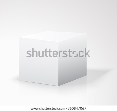 Blank box isolated on white background. White box. Cube. Template white. Blank box on white background with reflection. vector illustration. Vector Art - stock vector