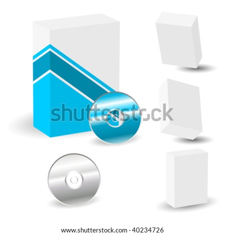 Blank boxes in different perspectives with colored sample over white - stock vector