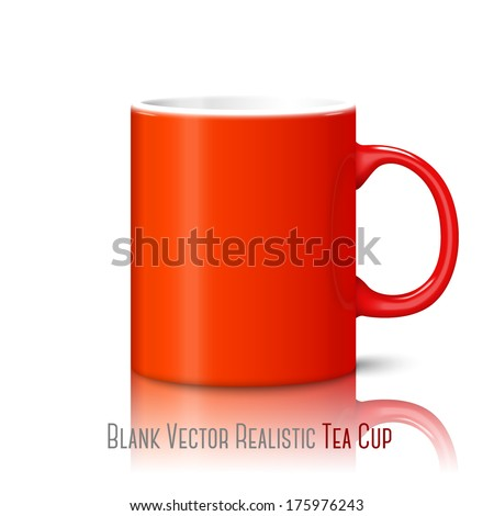 Blank bright red photo realistic cup isolated on white background with reflection, for branding and your design. Vector - stock vector