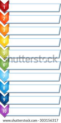 blank business strategy concept infographic chevron list diagram illustration ten 10 steps - stock vector