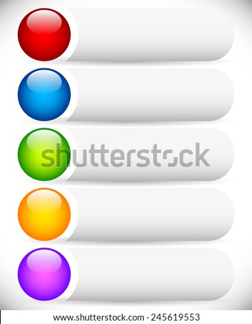 Blank button templates with glossy spheres, orbs. Web or print design elements - stock vector