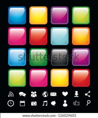 blank buttons with icons, app store. vector illustration - stock vector