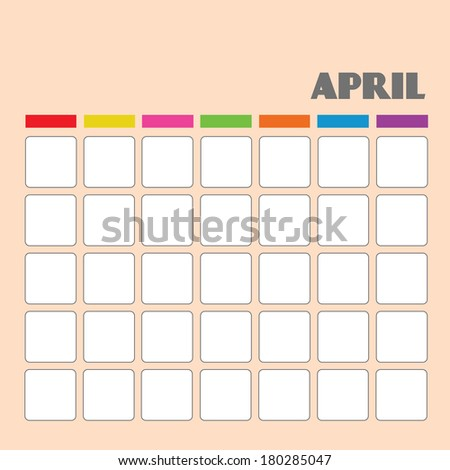 Blank calendar for your use  - stock vector
