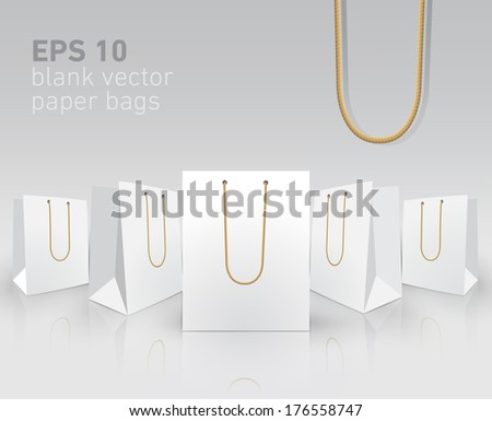 Blank carrier paper bags for your presentation - stock vector
