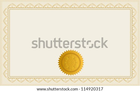 Blank Certificate Template. Jpeg Version Also Available In Gallery. - stock vector
