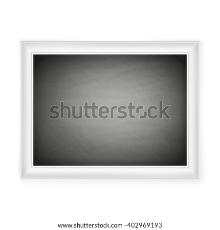 Blank chalkboard in light frame isolated on white. EPS 10 vector file included - stock vector
