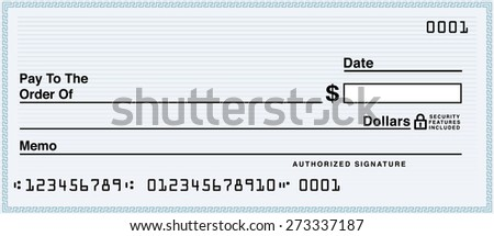 Blank check - stock vector
