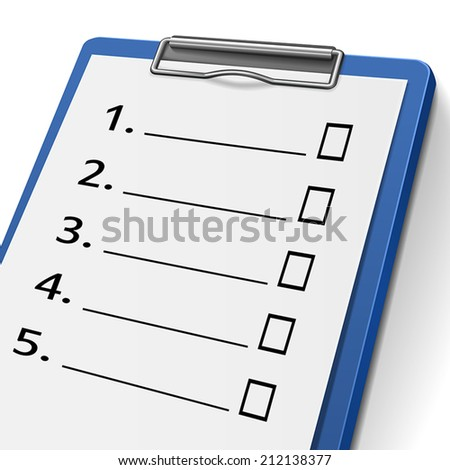 blank checklist clipboard with check boxes on it - stock vector