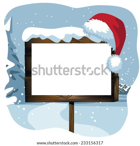 Blank Christmas sign in a snowy scene EPS 10 vector illustration - stock vector