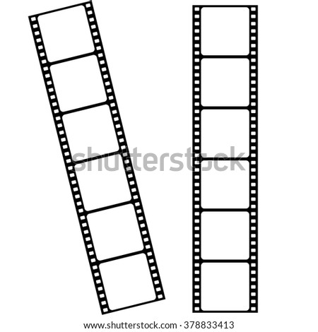 Blank cinema film strip frames with empty space for photograph and picture - stock vector