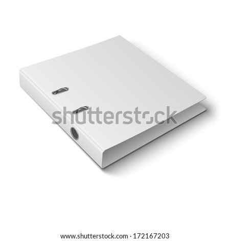 Blank closed office binder with metal rings, laying, 3d view, on white background. Vector illustration. EPS10. - stock vector