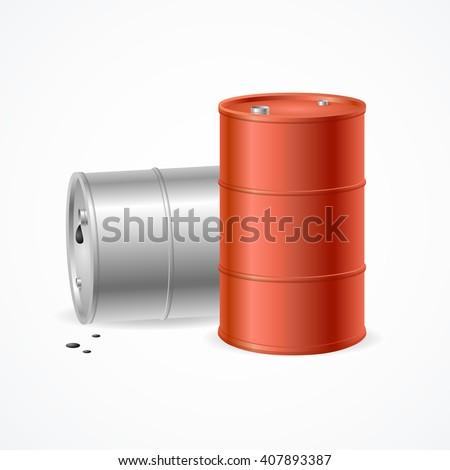 Blank Color Oil Barrel Drums. Vector illustration - stock vector