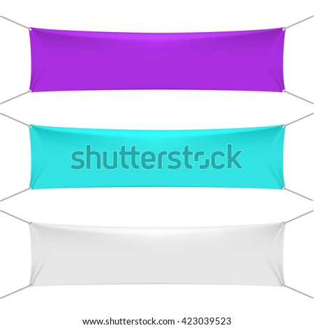 Blank color textile horizontal banners with copy space.  Empty fabric blank banners vector templates - stock vector