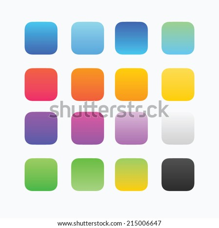 Blank colored button templates. Rounded shapes - stock vector