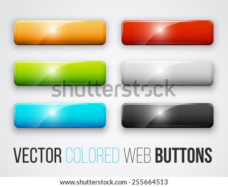 Blank  colored rectangle web buttons for website or app. Vector eps10 - stock vector