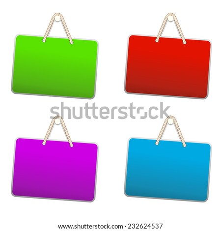 Blank colorful plastic sign hanging from a nail by string on white background. Vector illustration EPS10 - stock vector