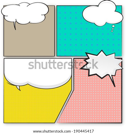 Blank comic bubble speech in pop art style, comic book, comic strip  - stock vector