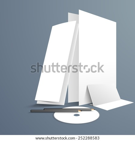 Blank corporate identity kit with space for your message, includes Visiting Cards, CD, Envelopes, Brochure and Letterhead design. - stock vector