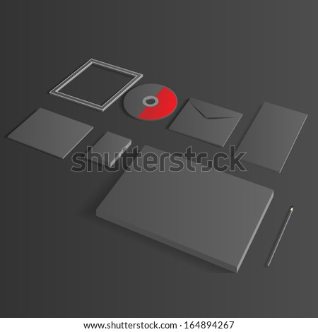 Blank Corporate Set isolated Business cards, Folder, envelopes, a4 letterheads, notebooks, flash, pencile, cd disk and smart phones. - stock vector